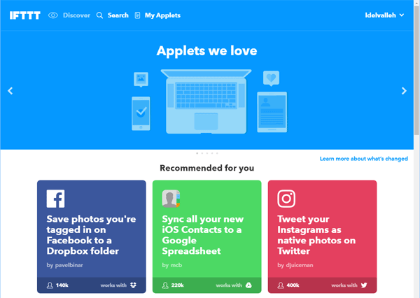 IFTTT dashboard