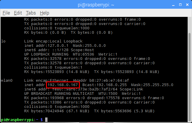 ifconfig raspberry pi